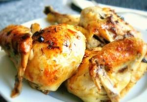 Печено пиле с лимон, чесън и розмарин